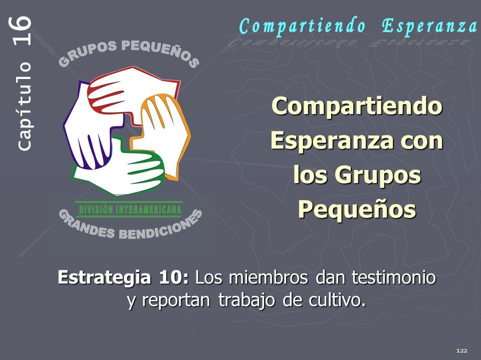 122 Compartiendo Esperanza con los Grupos Pequeños Estrategia 10: Los miembros dan testimonio y reportan trabajo de cultivo. Capítulo 1 6
