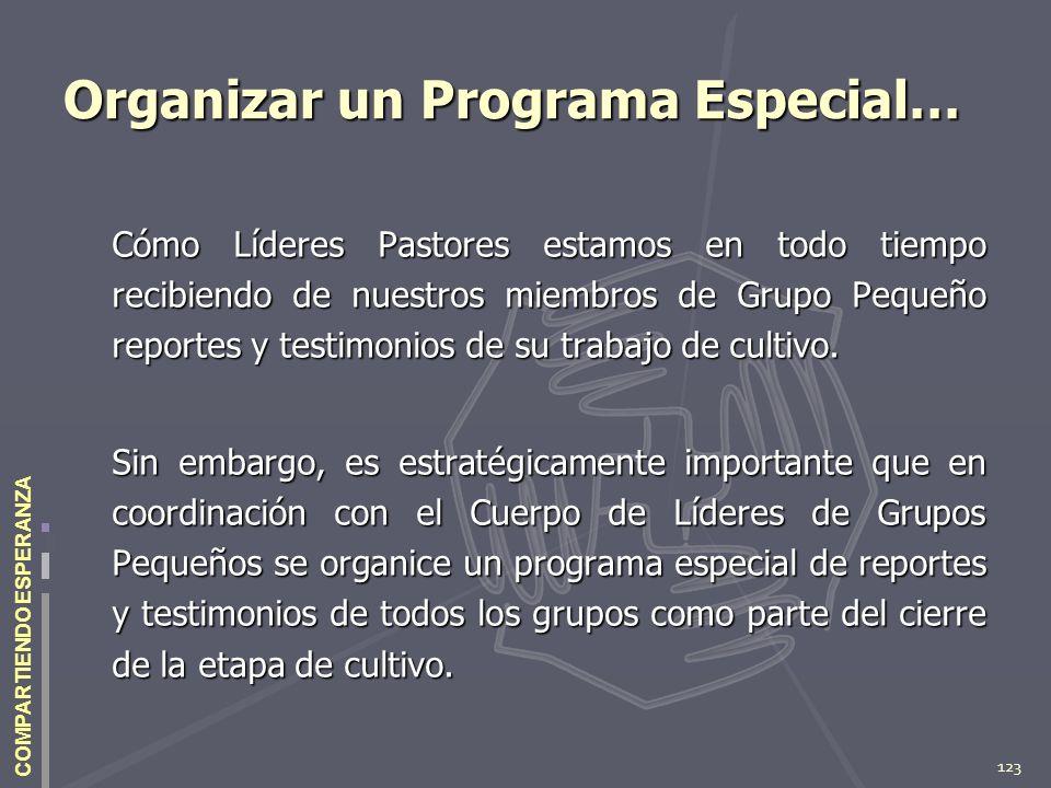 123 COMPARTIENDO ESPERANZA Organizar un Programa Especial… Cómo Líderes Pastores estamos en todo tiempo recibiendo de nuestros miembros de Grupo Peque