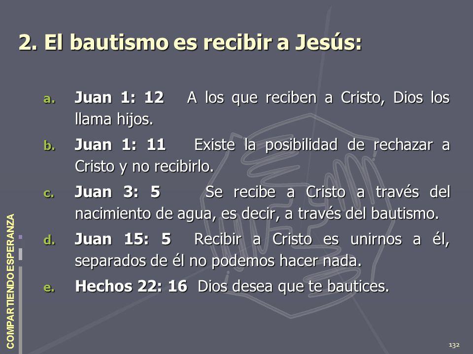 132 COMPARTIENDO ESPERANZA 2. El bautismo es recibir a Jesús: a. Juan 1: 12 A los que reciben a Cristo, Dios los llama hijos. b. Juan 1: 11 Existe la