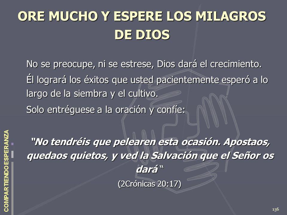 136 COMPARTIENDO ESPERANZA ORE MUCHO Y ESPERE LOS MILAGROS DE DIOS No se preocupe, ni se estrese, Dios dará el crecimiento. Él logrará los éxitos que