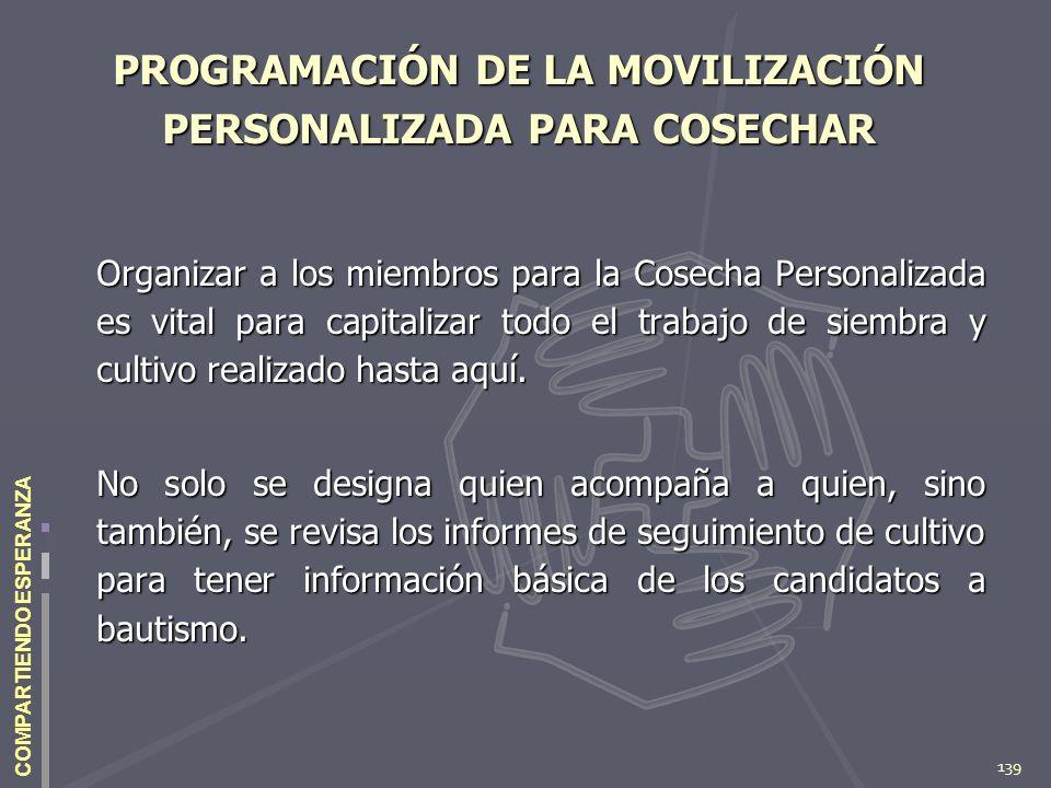 139 COMPARTIENDO ESPERANZA PROGRAMACIÓN DE LA MOVILIZACIÓN PERSONALIZADA PARA COSECHAR Organizar a los miembros para la Cosecha Personalizada es vital