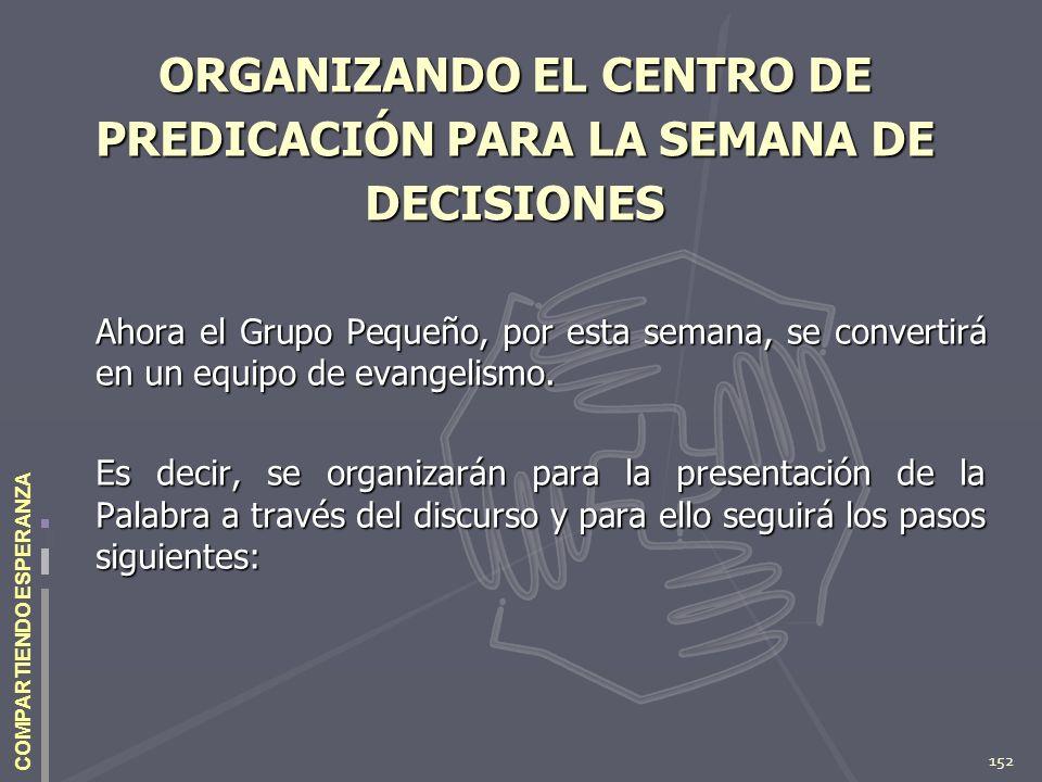 152 COMPARTIENDO ESPERANZA ORGANIZANDO EL CENTRO DE PREDICACIÓN PARA LA SEMANA DE DECISIONES Ahora el Grupo Pequeño, por esta semana, se convertirá en