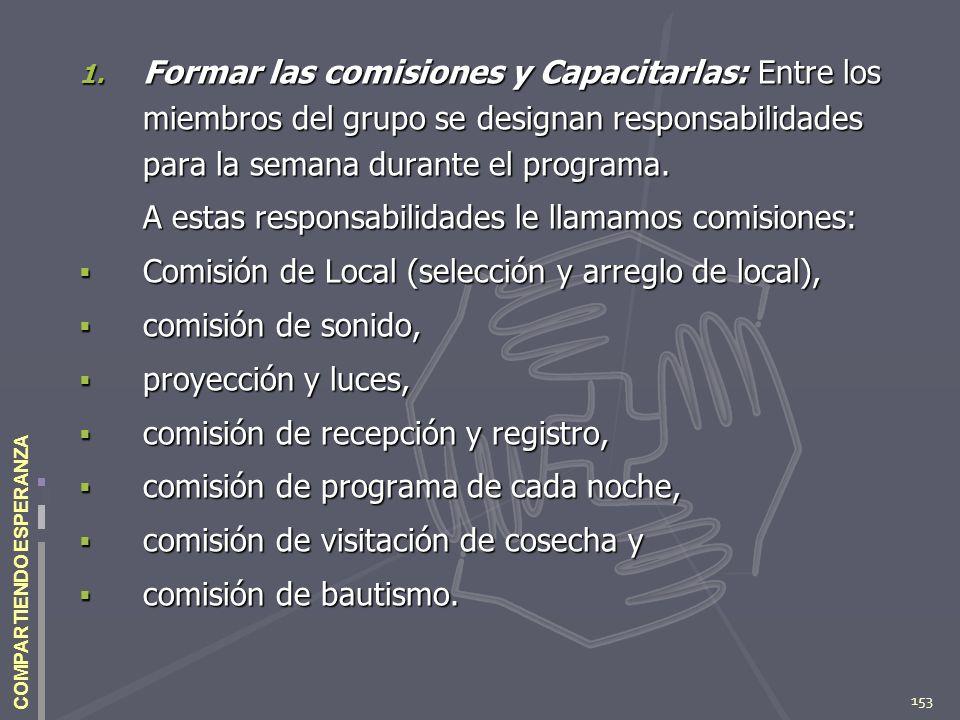 153 COMPARTIENDO ESPERANZA 1. Formar las comisiones y Capacitarlas: Entre los miembros del grupo se designan responsabilidades para la semana durante