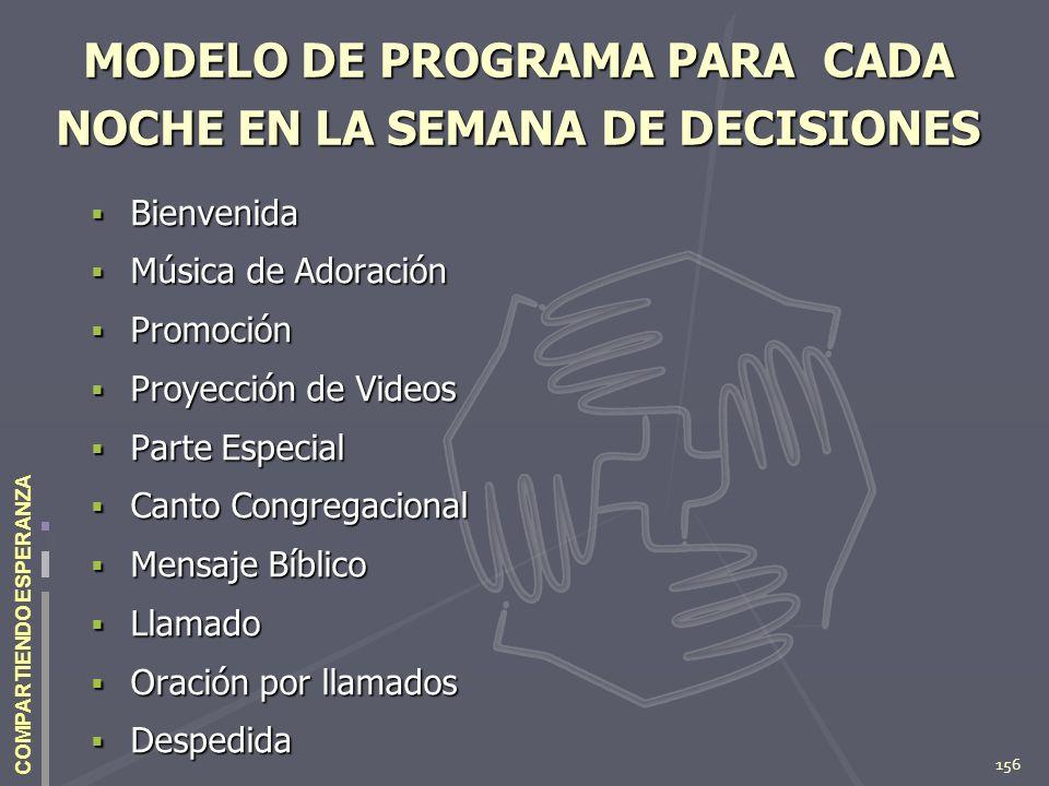 156 COMPARTIENDO ESPERANZA MODELO DE PROGRAMA PARA CADA NOCHE EN LA SEMANA DE DECISIONES Bienvenida Bienvenida Música de Adoración Música de Adoración
