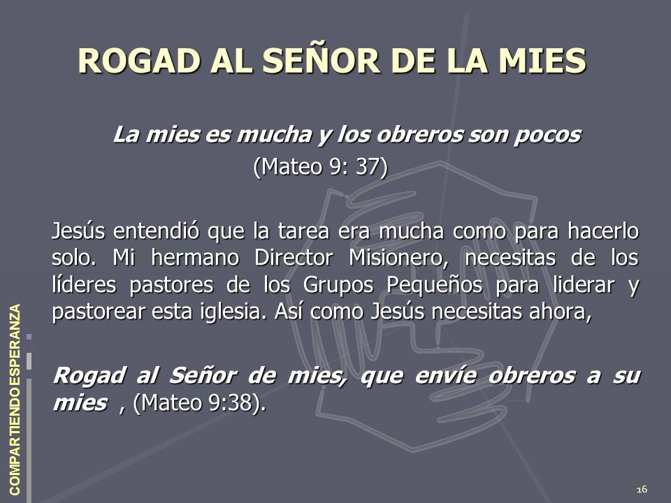 16 COMPARTIENDO ESPERANZA ROGAD AL SEÑOR DE LA MIES La mies es mucha y los obreros son pocos (Mateo 9: 37) Jesús entendió que la tarea era mucha como
