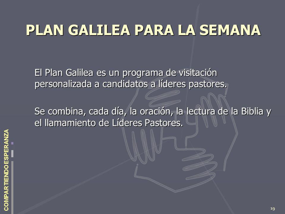 19 COMPARTIENDO ESPERANZA PLAN GALILEA PARA LA SEMANA PLAN GALILEA PARA LA SEMANA El Plan Galilea es un programa de visitación personalizada a candida
