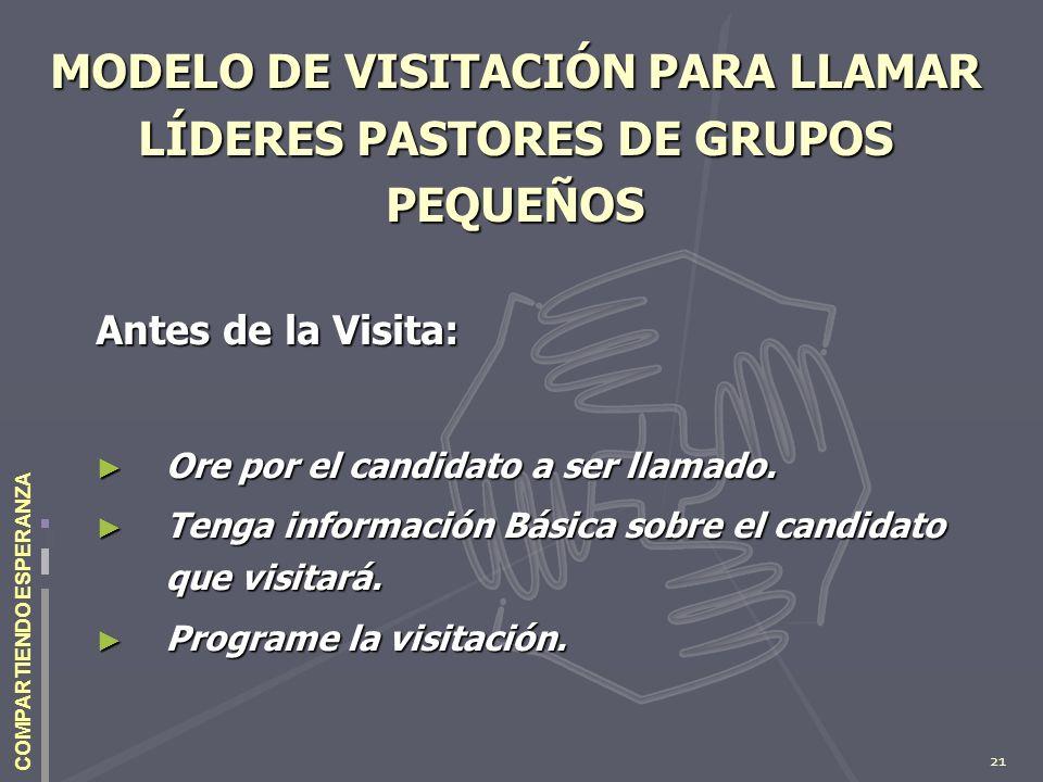 21 COMPARTIENDO ESPERANZA MODELO DE VISITACIÓN PARA LLAMAR LÍDERES PASTORES DE GRUPOS PEQUEÑOS Antes de la Visita: Ore por el candidato a ser llamado.