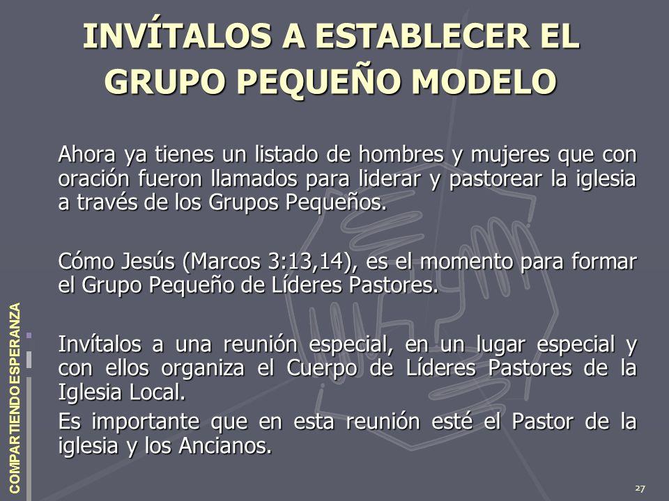 27 COMPARTIENDO ESPERANZA INVÍTALOS A ESTABLECER EL GRUPO PEQUEÑO MODELO Ahora ya tienes un listado de hombres y mujeres que con oración fueron llamad