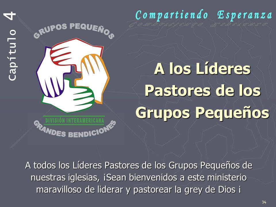 34 A los Líderes Pastores de los Grupos Pequeños A todos los Líderes Pastores de los Grupos Pequeños de nuestras iglesias, ¡Sean bienvenidos a este mi