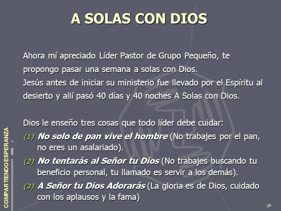 36 COMPARTIENDO ESPERANZA A SOLAS CON DIOS Ahora mí apreciado Líder Pastor de Grupo Pequeño, te propongo pasar una semana a solas con Dios. Jesús ante