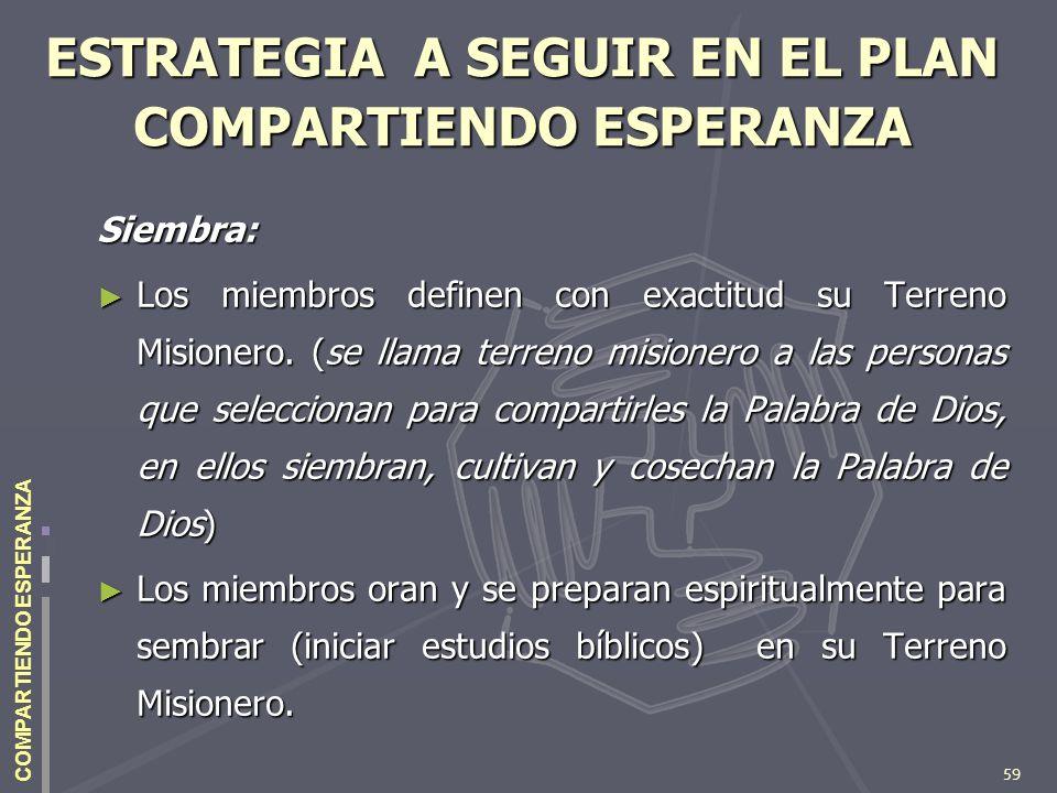 59 COMPARTIENDO ESPERANZA ESTRATEGIA A SEGUIR EN EL PLAN COMPARTIENDO ESPERANZA Siembra: Los miembros definen con exactitud su Terreno Misionero. (se