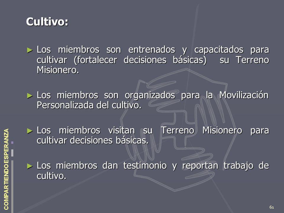 61 COMPARTIENDO ESPERANZA Cultivo: Los miembros son entrenados y capacitados para cultivar (fortalecer decisiones básicas) su Terreno Misionero. Los m