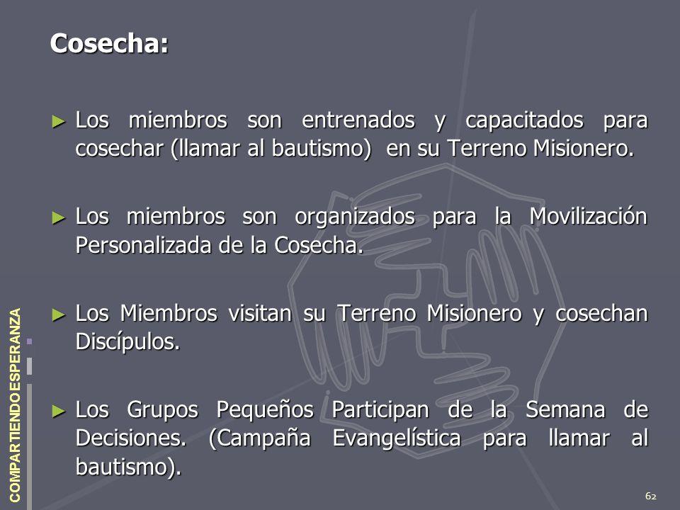 62 COMPARTIENDO ESPERANZA Cosecha: Los miembros son entrenados y capacitados para cosechar (llamar al bautismo) en su Terreno Misionero. Los miembros