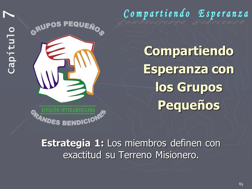 63 Compartiendo Esperanza con los Grupos Pequeños Compartiendo Esperanza con los Grupos Pequeños Estrategia 1: Los miembros definen con exactitud su T