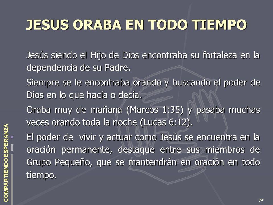 72 COMPARTIENDO ESPERANZA JESUS ORABA EN TODO TIEMPO Jesús siendo el Hijo de Dios encontraba su fortaleza en la dependencia de su Padre. Siempre se le