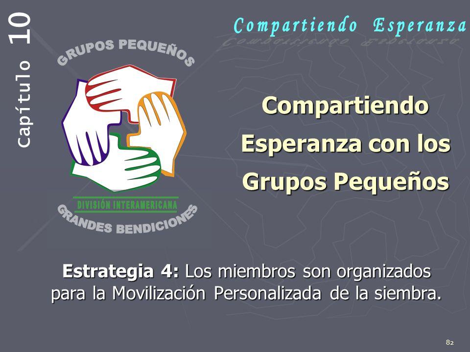 82 Compartiendo Esperanza con los Grupos Pequeños Estrategia 4: Los miembros son organizados para la Movilización Personalizada de la siembra. Capítul