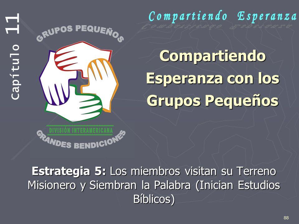 88 Compartiendo Esperanza con los Grupos Pequeños Estrategia 5: Los miembros visitan su Terreno Misionero y Siembran la Palabra (Inician Estudios Bíbl