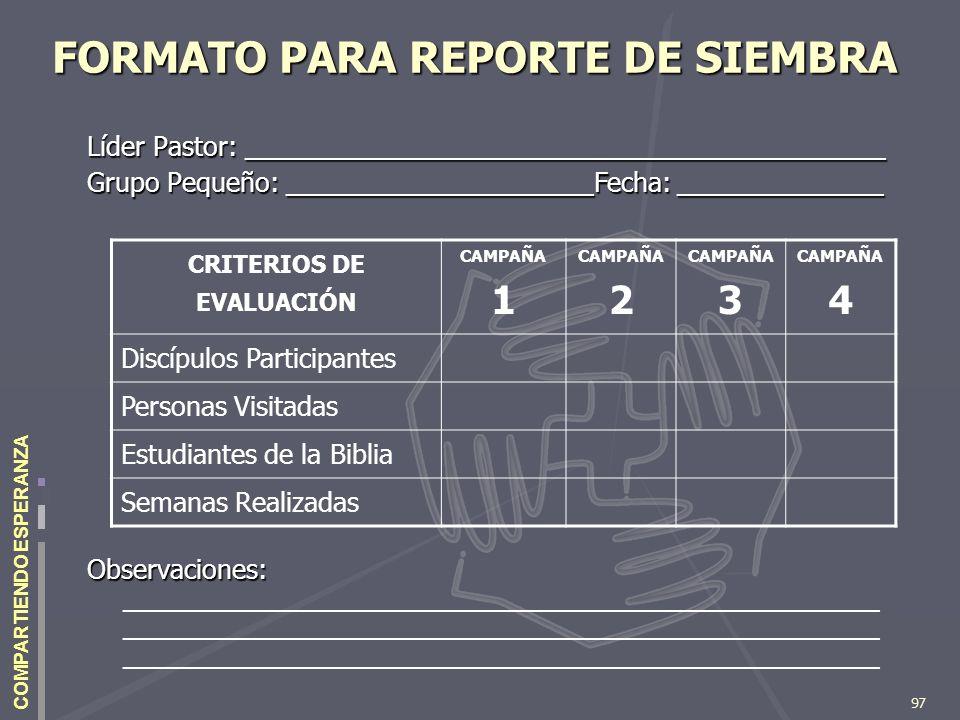 97 COMPARTIENDO ESPERANZA FORMATO PARA REPORTE DE SIEMBRA Líder Pastor: ____________________________________________ Grupo Pequeño: __________________