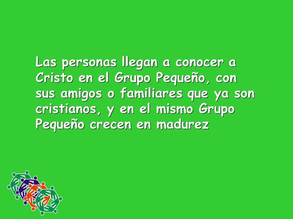 Las personas llegan a conocer a Cristo en el Grupo Pequeño, con sus amigos o familiares que ya son cristianos, y en el mismo Grupo Pequeño crecen en m