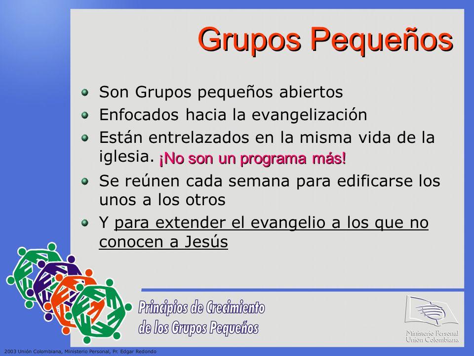Grupos Pequeños Son Grupos pequeños abiertos Enfocados hacia la evangelización Están entrelazados en la misma vida de la iglesia. ¡No son un programa
