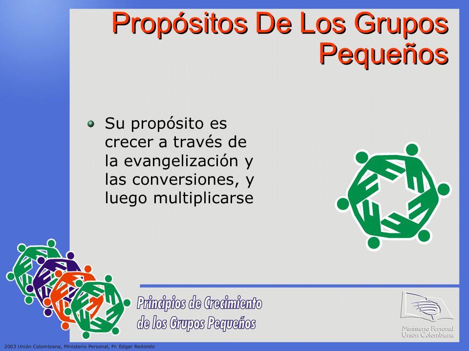 Propósitos De Los Grupos Pequeños Su propósito es crecer a través de la evangelización y las conversiones, y luego multiplicarse