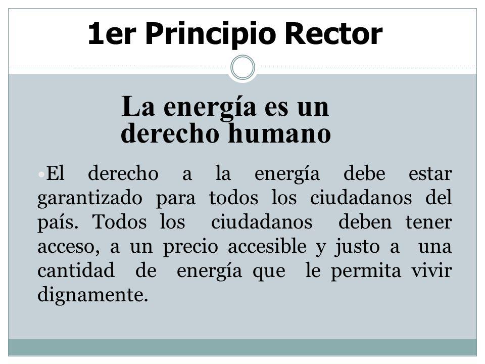 2ndo Principio Rector La generación y distribución de energía es un asunto de seguridad nacional.