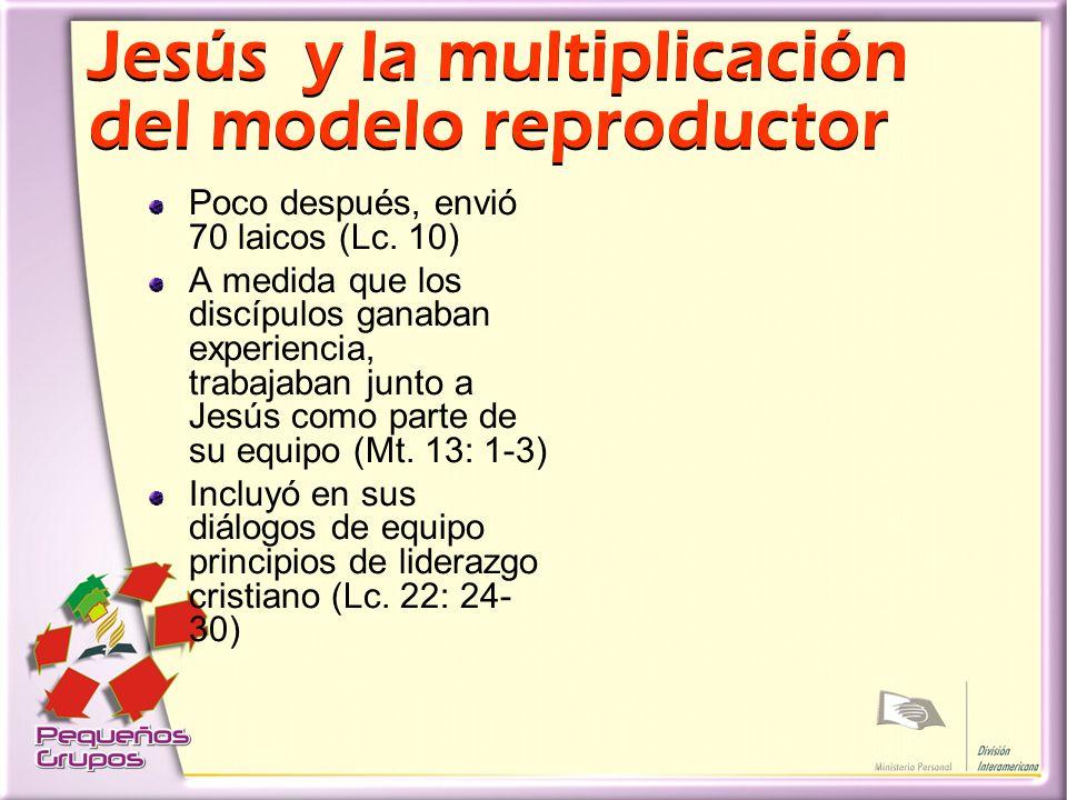Jesús y la multiplicación del modelo reproductor Poco después, envió 70 laicos (Lc.