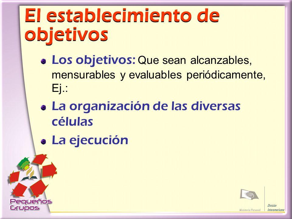 El establecimiento de objetivos Los objetivos: Que sean alcanzables, mensurables y evaluables periódicamente, Ej.: La organización de las diversas células La ejecución