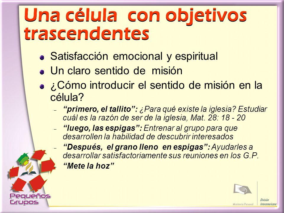 Una célula con objetivos trascendentes Satisfacción emocional y espiritual Un claro sentido de misión ¿Cómo introducir el sentido de misión en la célula.