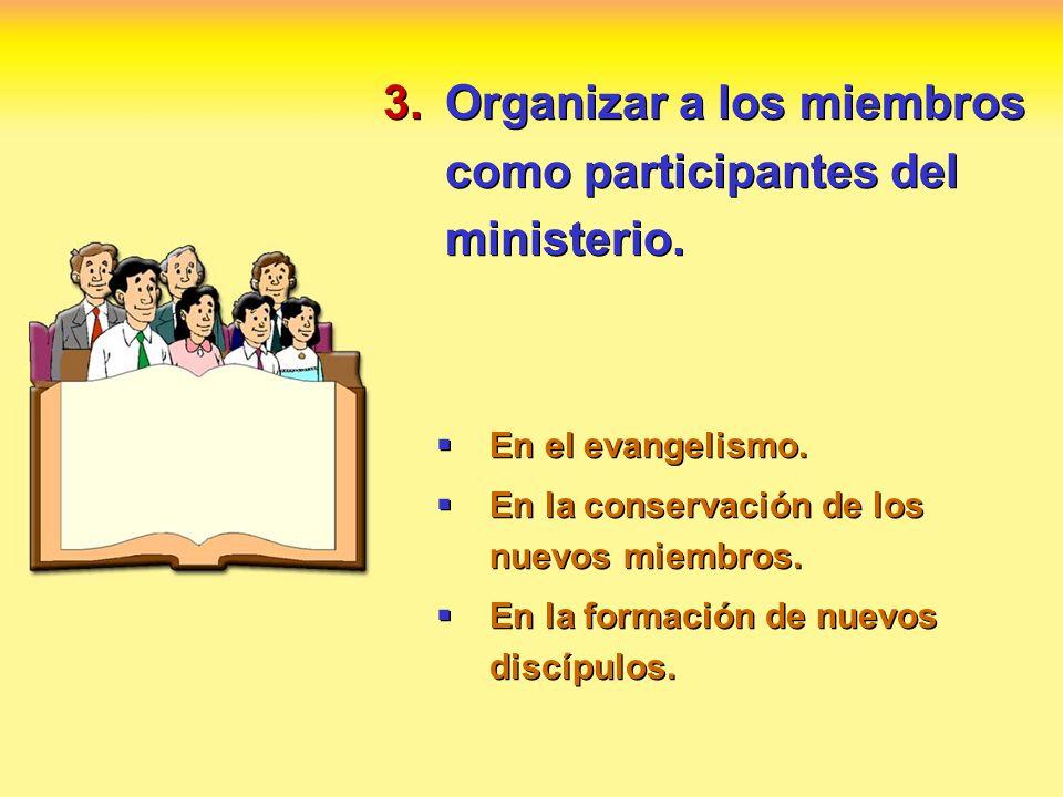 3.Organizar a los miembros como participantes del ministerio. En el evangelismo. En la conservación de los nuevos miembros. En la formación de nuevos
