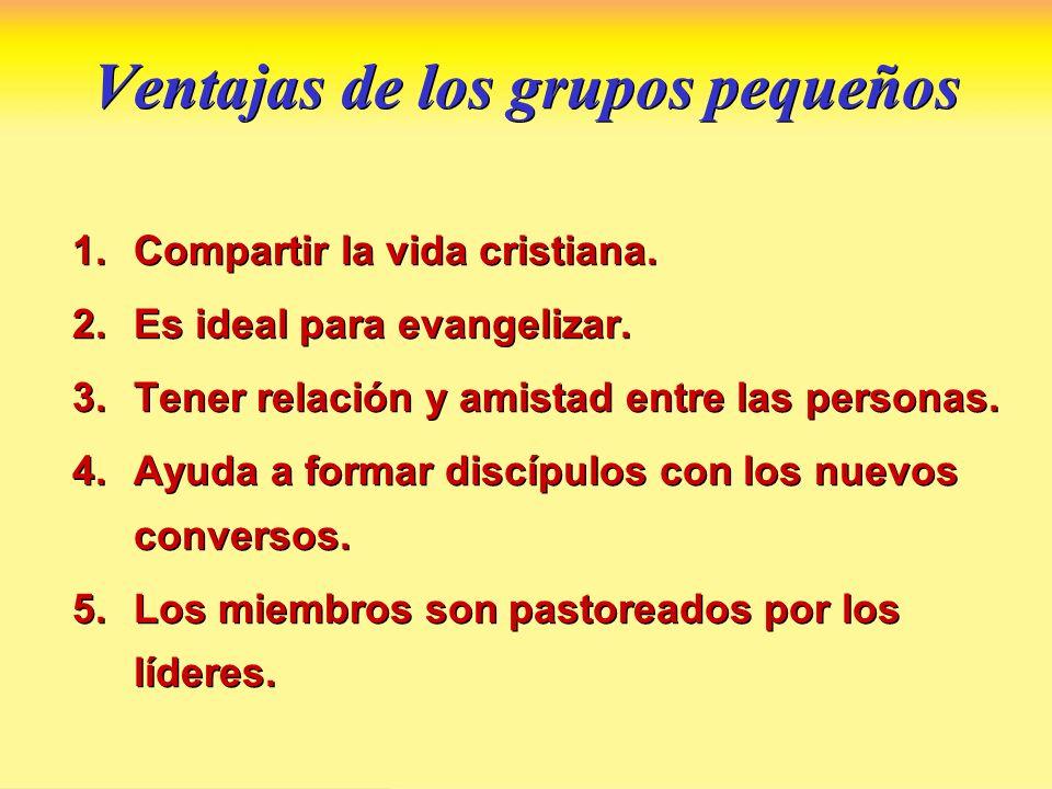 Ventajas de los grupos pequeños 1.Compartir la vida cristiana. 2.Es ideal para evangelizar. 3.Tener relación y amistad entre las personas. 4.Ayuda a f