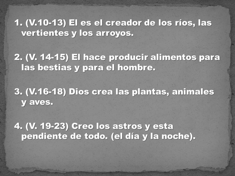 1. (V.10-13) El es el creador de los ríos, las vertientes y los arroyos. 2. (V. 14-15) El hace producir alimentos para las bestias y para el hombre. 3