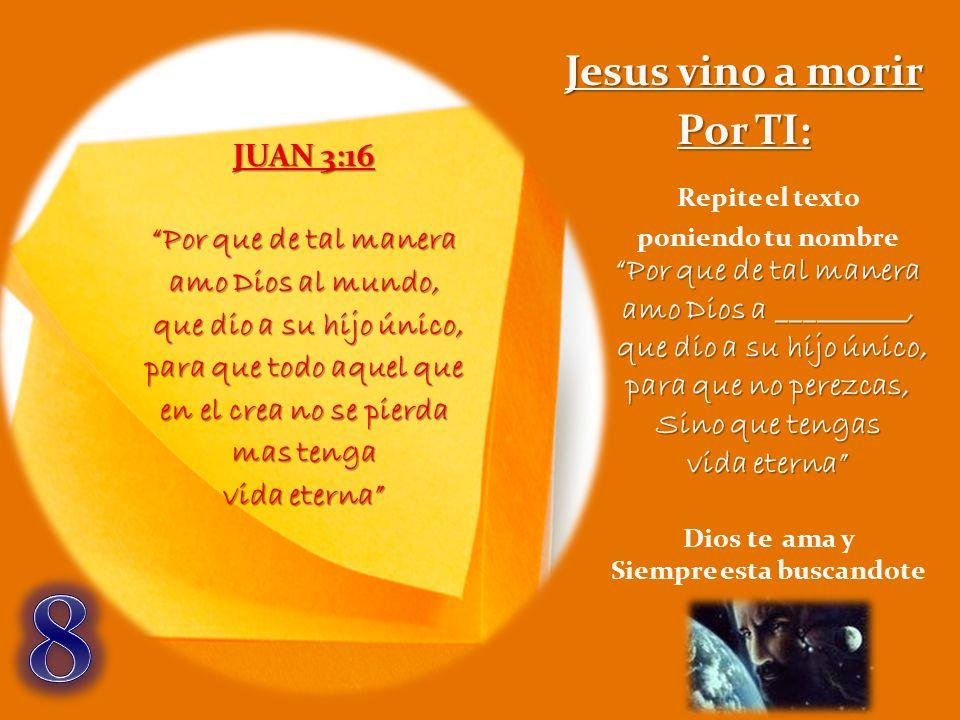 JUAN 3:16 Por que de tal manera amo Dios al mundo, que dio a su hijo único, que dio a su hijo único, para que todo aquel que en el crea no se pierda m