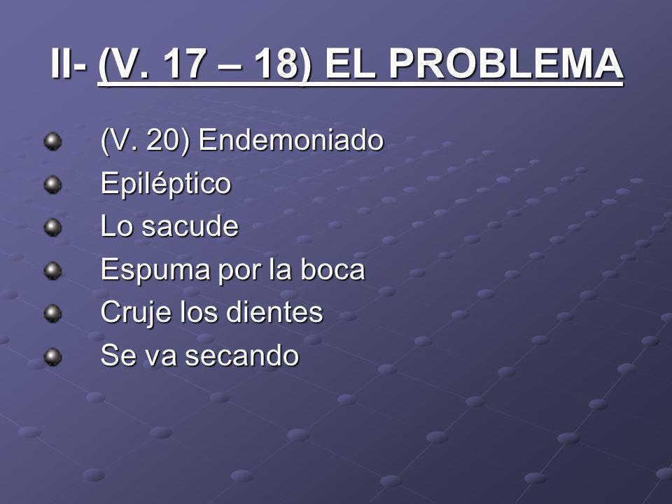 II- (V. 17 – 18) EL PROBLEMA (V. 20) Endemoniado Epiléptico Lo sacude Espuma por la boca Cruje los dientes Se va secando