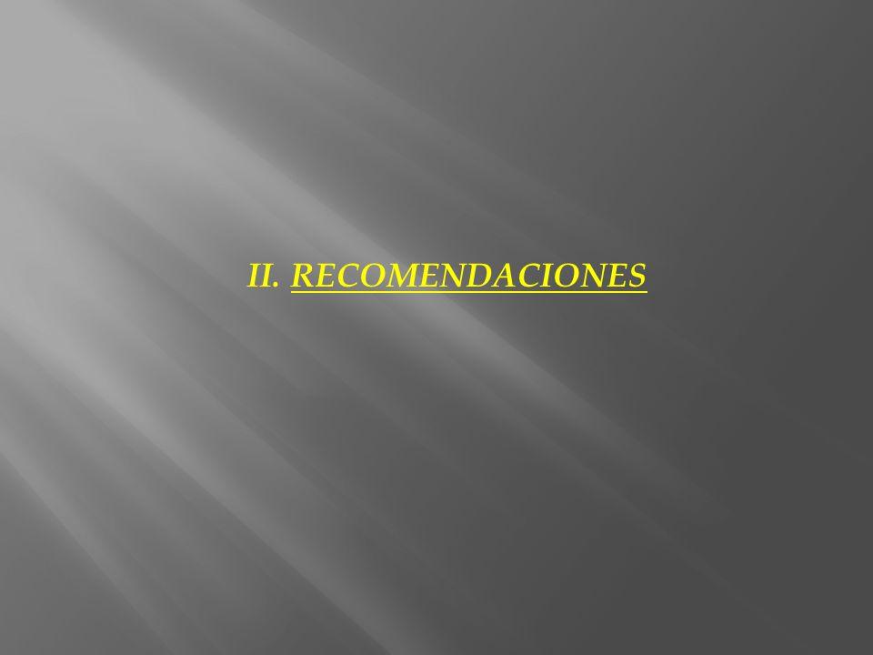 II. RECOMENDACIONES