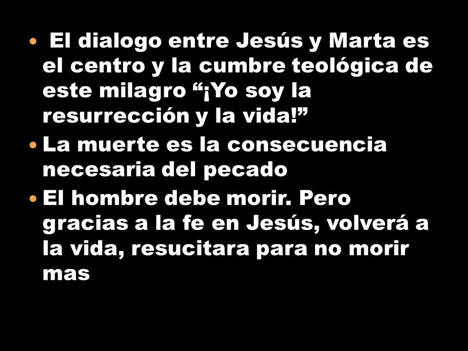 El dialogo entre Jesús y Marta es el centro y la cumbre teológica de este milagro ¡Yo soy la resurrección y la vida! La muerte es la consecuencia nece