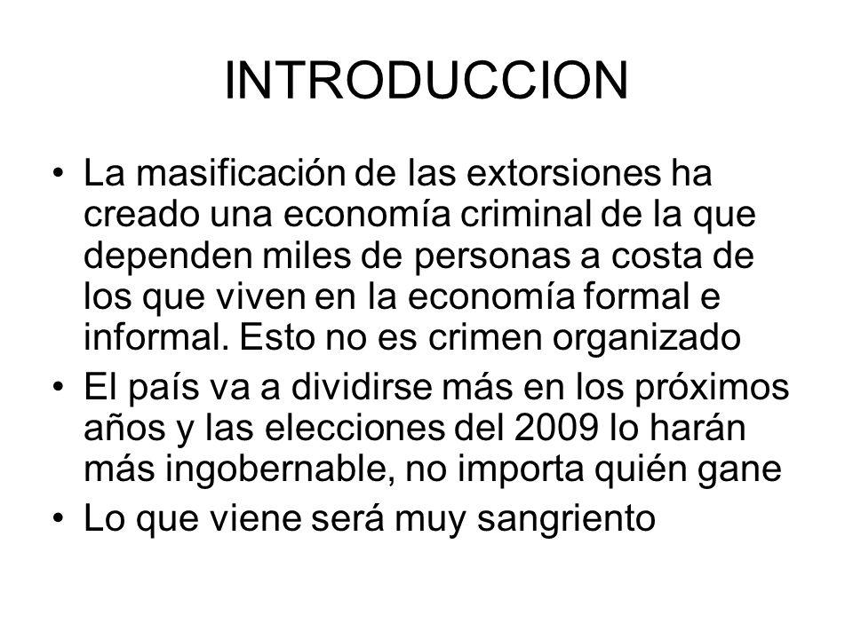 INTRODUCCION La masificación de las extorsiones ha creado una economía criminal de la que dependen miles de personas a costa de los que viven en la ec