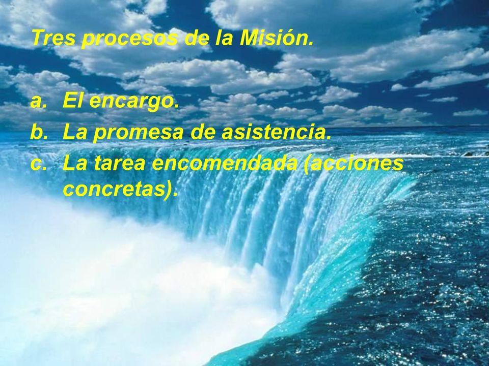 Tres procesos de la Misión. a.El encargo. b.La promesa de asistencia. c.La tarea encomendada (acciones concretas).