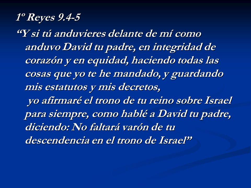 1º Reyes 9.4-5 Y si tú anduvieres delante de mí como anduvo David tu padre, en integridad de corazón y en equidad, haciendo todas las cosas que yo te