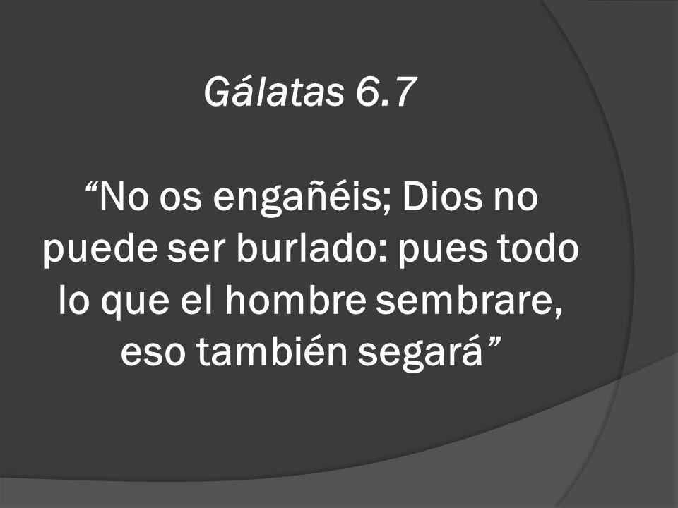 Gálatas 6.7No os engañéis; Dios no puede ser burlado: pues todo lo que el hombre sembrare, eso también segará