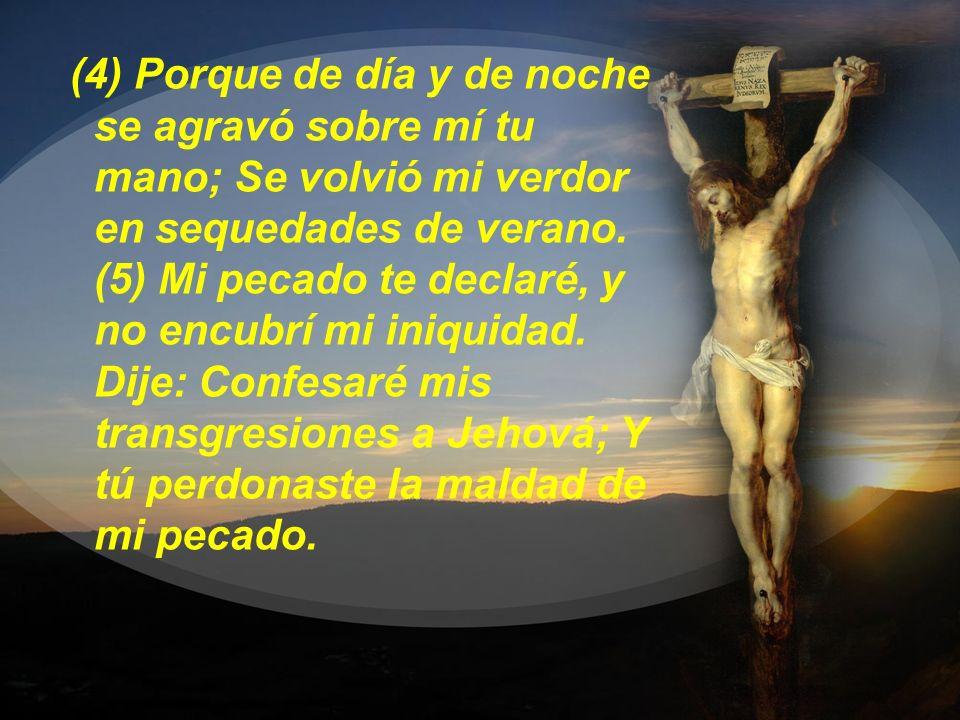 (4) Porque de día y de noche se agravó sobre mí tu mano; Se volvió mi verdor en sequedades de verano. (5) Mi pecado te declaré, y no encubrí mi iniqui