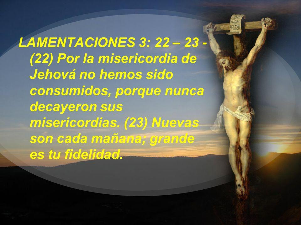 LAMENTACIONES 3: 22 – 23 - (22) Por la misericordia de Jehová no hemos sido consumidos, porque nunca decayeron sus misericordias. (23) Nuevas son cada