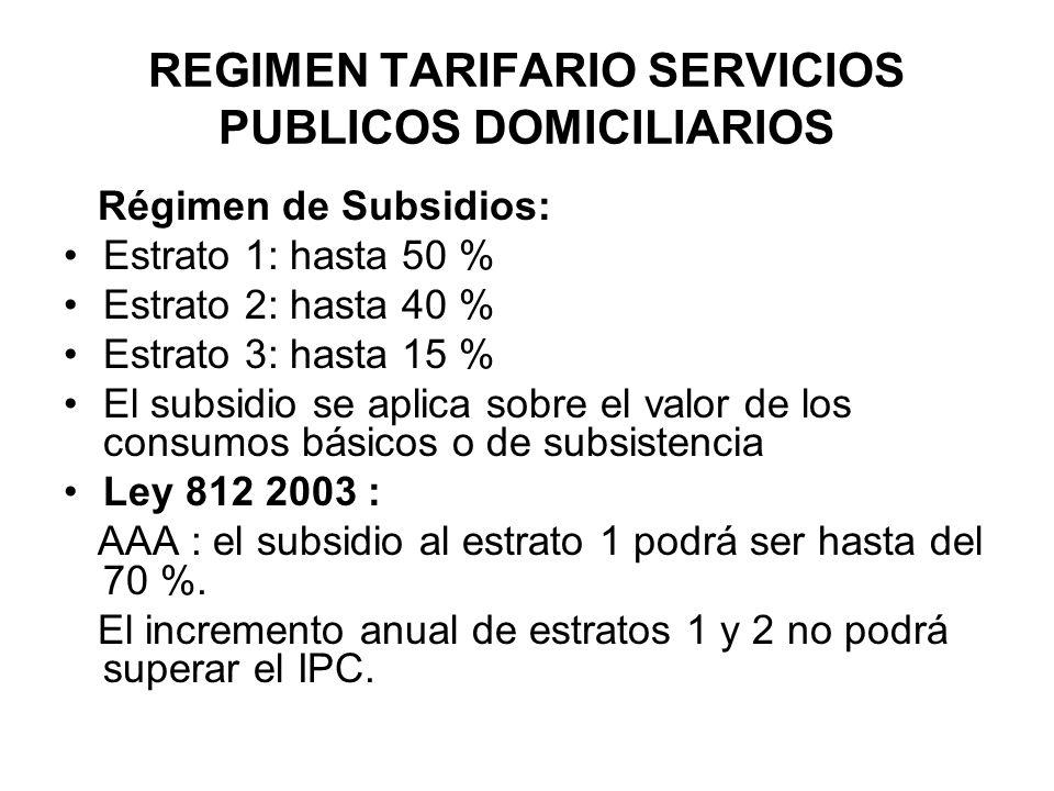 REGIMEN TARIFARIO SERVICIOS PUBLICOS DOMICILIARIOS Régimen de Subsidios: Estrato 1: hasta 50 % Estrato 2: hasta 40 % Estrato 3: hasta 15 % El subsidio