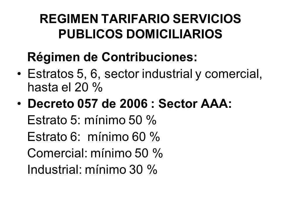 REGIMEN TARIFARIO SERVICIOS PUBLICOS DOMICILIARIOS Régimen de Contribuciones: Estratos 5, 6, sector industrial y comercial, hasta el 20 % Decreto 057