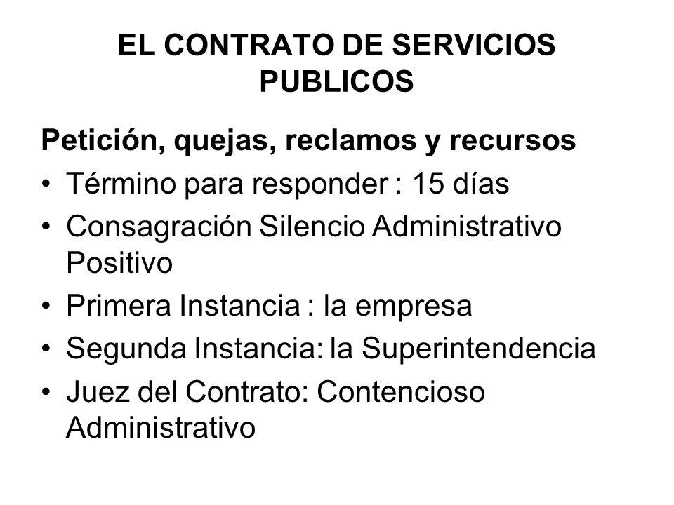 EL CONTRATO DE SERVICIOS PUBLICOS Petición, quejas, reclamos y recursos Término para responder : 15 días Consagración Silencio Administrativo Positivo