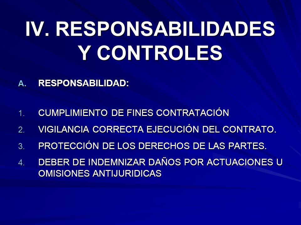 IV. RESPONSABILIDADES Y CONTROLES A. RESPONSABILIDAD: 1. CUMPLIMIENTO DE FINES CONTRATACIÓN 2. VIGILANCIA CORRECTA EJECUCIÓN DEL CONTRATO. 3. PROTECCI