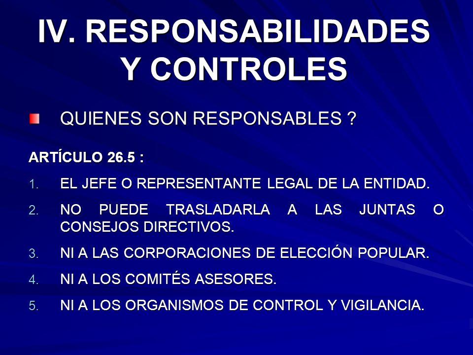 IV. RESPONSABILIDADES Y CONTROLES QUIENES SON RESPONSABLES ? ARTÍCULO 26.5 : 1. EL JEFE O REPRESENTANTE LEGAL DE LA ENTIDAD. 2. NO PUEDE TRASLADARLA A