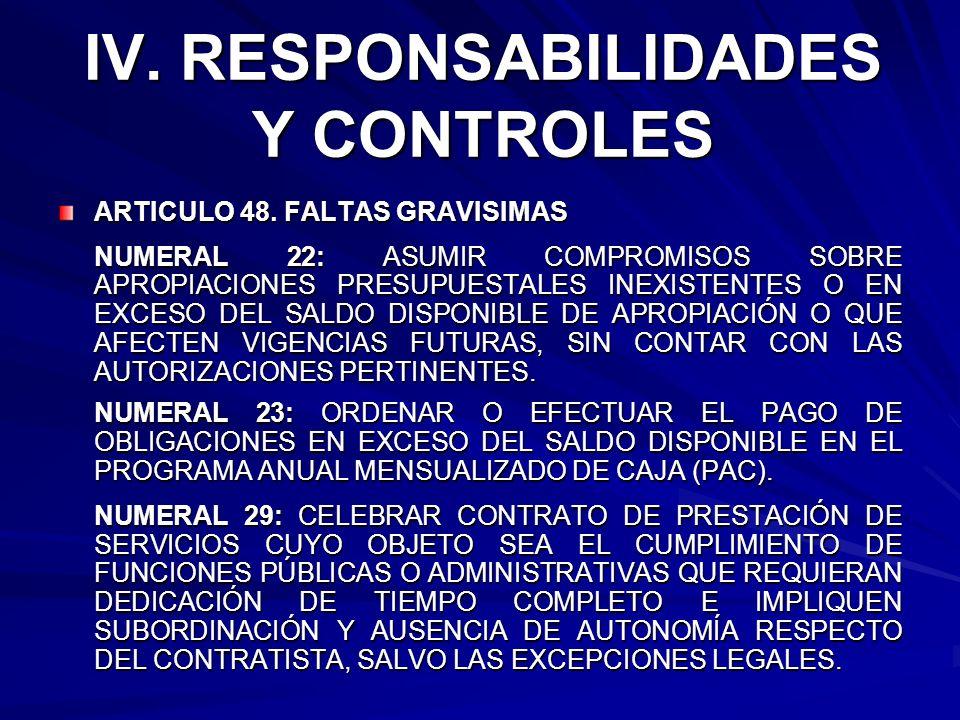 IV. RESPONSABILIDADES Y CONTROLES ARTICULO 48. FALTAS GRAVISIMAS NUMERAL 22: ASUMIR COMPROMISOS SOBRE APROPIACIONES PRESUPUESTALES INEXISTENTES O EN E