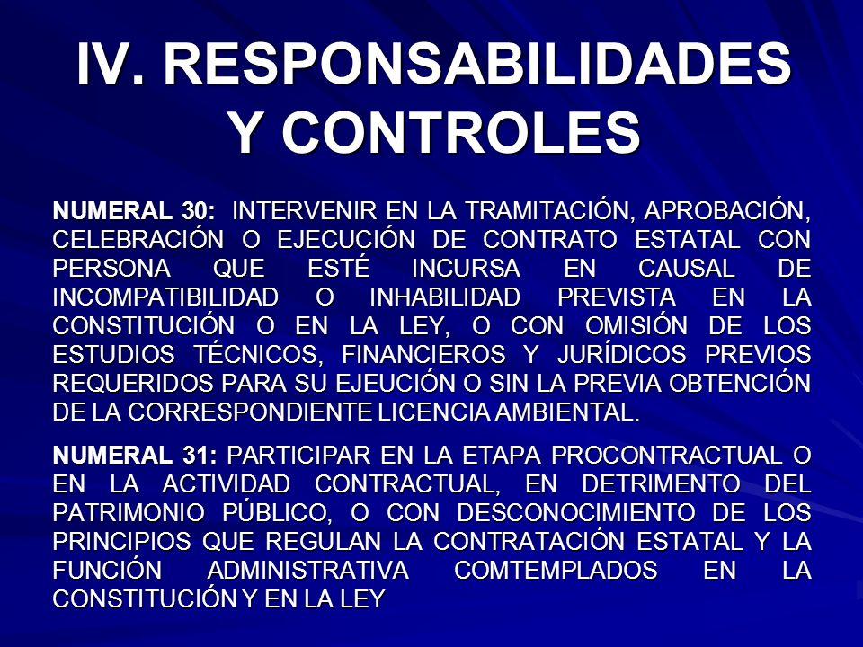 IV. RESPONSABILIDADES Y CONTROLES NUMERAL 30: INTERVENIR EN LA TRAMITACIÓN, APROBACIÓN, CELEBRACIÓN O EJECUCIÓN DE CONTRATO ESTATAL CON PERSONA QUE ES
