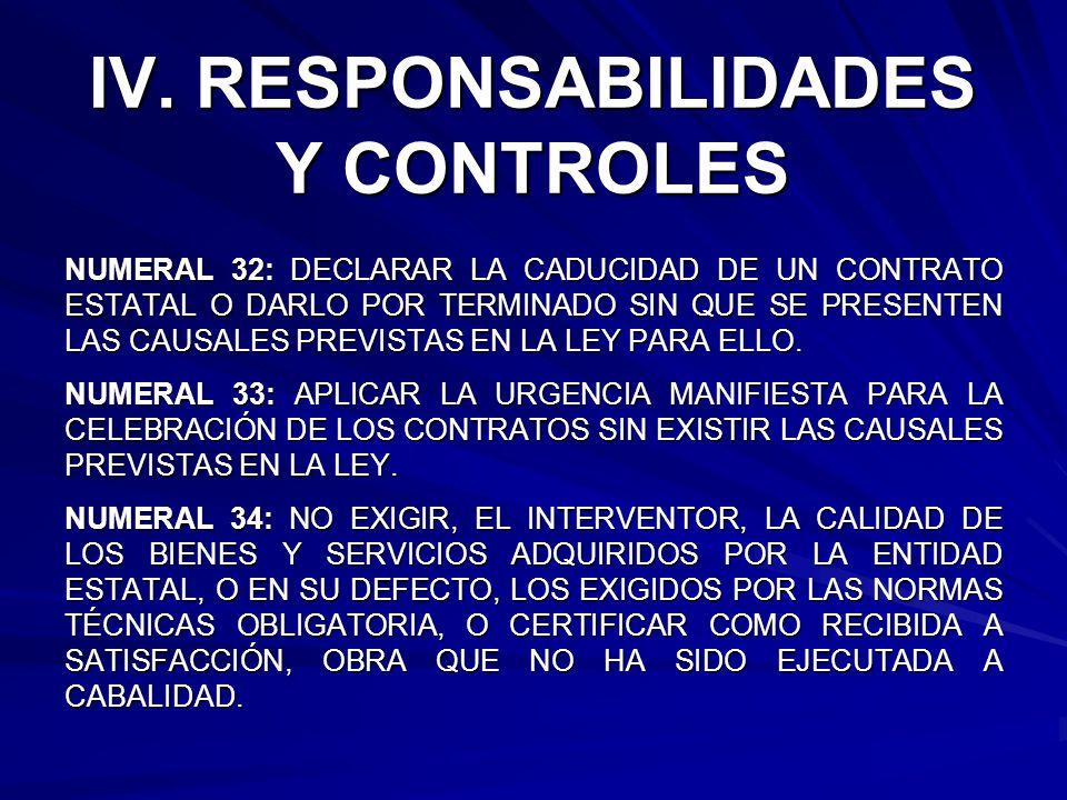 IV. RESPONSABILIDADES Y CONTROLES NUMERAL 32: DECLARAR LA CADUCIDAD DE UN CONTRATO ESTATAL O DARLO POR TERMINADO SIN QUE SE PRESENTEN LAS CAUSALES PRE
